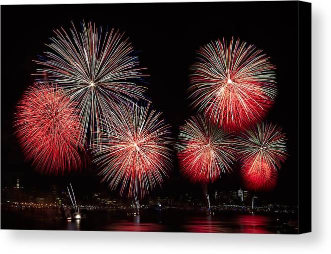 4th Of July Canvas Print featuring the photograph The New York City Skyline All Lit Up by Susan Candelario