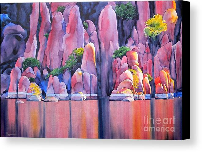 Watercolor Canvas Print featuring the painting The Secret Cove by Robert Hooper