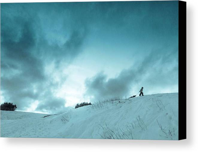 Sledding sledding Hill winter Landscape Snow Fun Nature greeting Card mary Amerman Minnesota Duluth child Sledding Canvas Print featuring the photograph The Sledding Hill by Mary Amerman