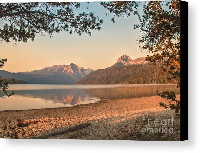 Rocky Mountains Canvas Print featuring the photograph Twilight At Redfish Lake by Robert Bales