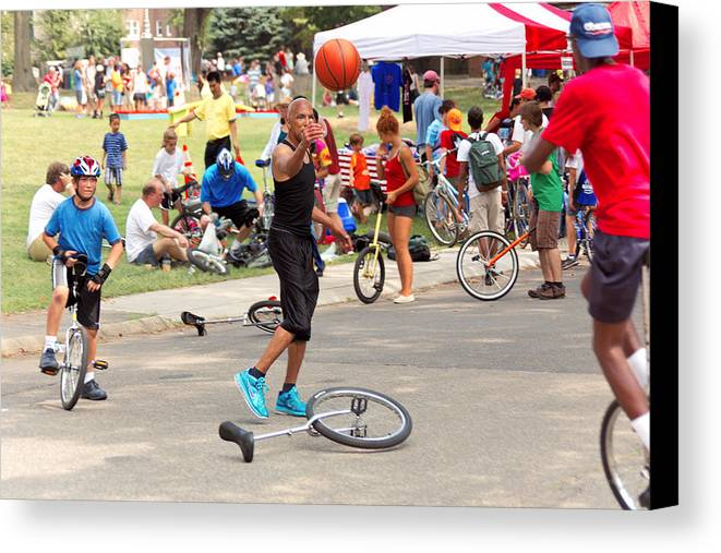 Unicycle Canvas Print featuring the photograph Unicyclist - Basketball - Street Rules by Mike Savad