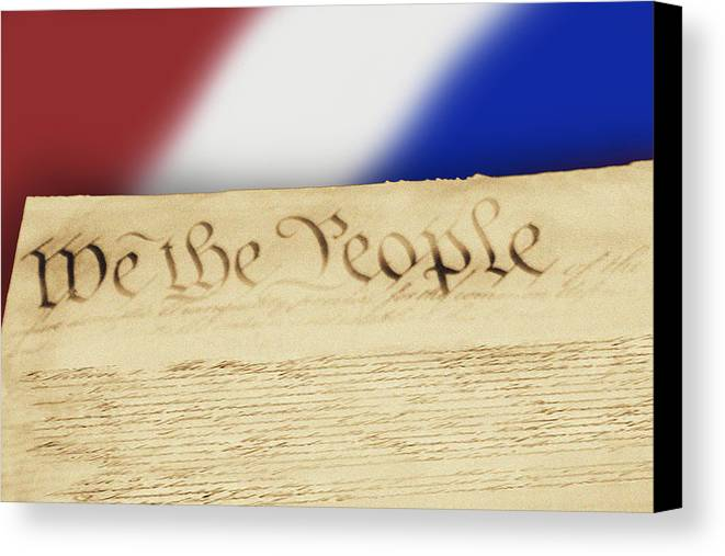 Words Canvas Print featuring the photograph Us Constitution by Linda Phelps