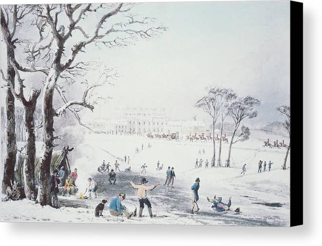 Print Canvas Print featuring the drawing View Of Buckingham House And St James Park In The Winter by John Burnet