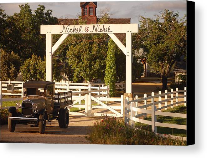 Vintage Truck Wood Railed Flatbed Fence Posts White Fence Wooden Farm Vineyard Nickel And Nickel Vineyards Napa California Ca Canvas Print featuring the photograph Vineyard Trucking by Holly Blunkall