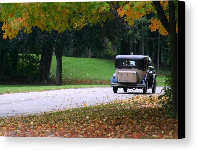 Vintage Auto Canvas Print featuring the photograph Vintage Auto On The Road Again by Kay Novy