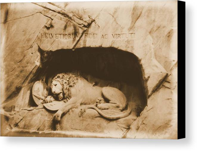 Lion Of Lucerne Canvas Print featuring the photograph Vintage Lion Of Lucerne by Dan Sproul