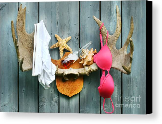 Antlers Canvas Print featuring the digital art Wild Summer Cottage Weekend by Sandra Cunningham