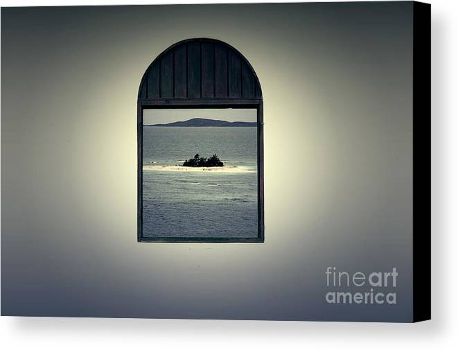 Puerto Rico Canvas Print featuring the digital art Window View Of Desert Island Puerto Rico Prints Lomography by Shawn O'Brien