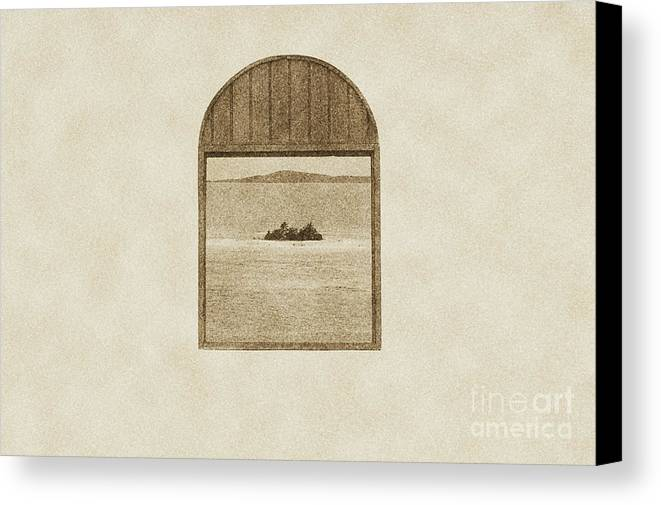 Puerto Rico Canvas Print featuring the digital art Window View Of Desert Island Puerto Rico Prints Vintage by Shawn O'Brien