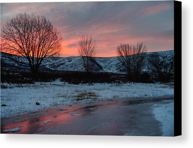 Sunrise Canvas Print featuring the photograph Winter Sunrise by Chad Dutson