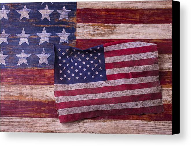 American Canvas Print featuring the photograph Worn American Flag by Garry Gay