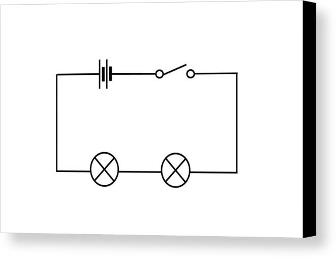 Circuit Diagram Canvas Print featuring the photograph Lamps Connected In Series by Sheila Terry