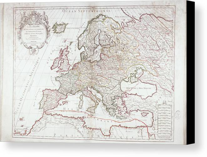 Horizontal Canvas Print featuring the digital art Map Of Europe by Fototeca Storica Nazionale