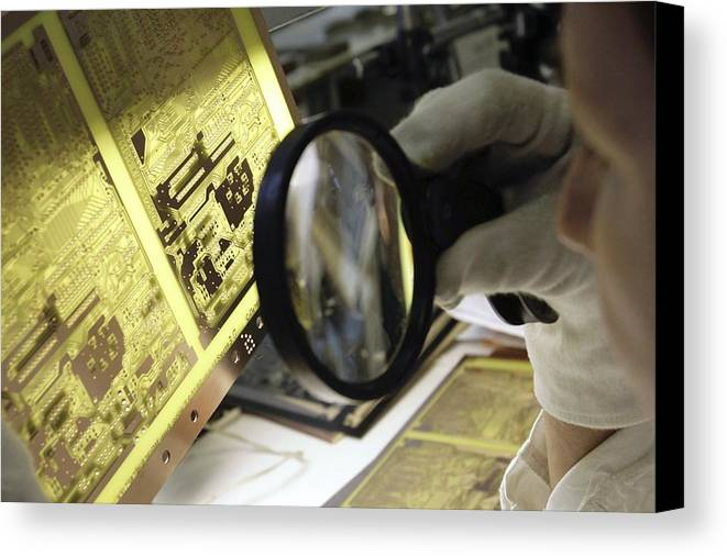 Electronic Circuit Canvas Print featuring the photograph Printed Circuit Board Production by Ria Novosti