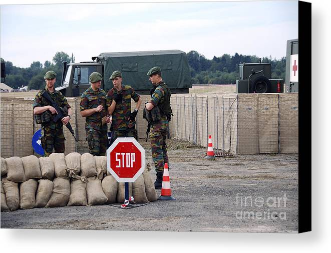 Armed Forces Canvas Print featuring the photograph Scenery Of A Checkpoint Used by Luc De Jaeger