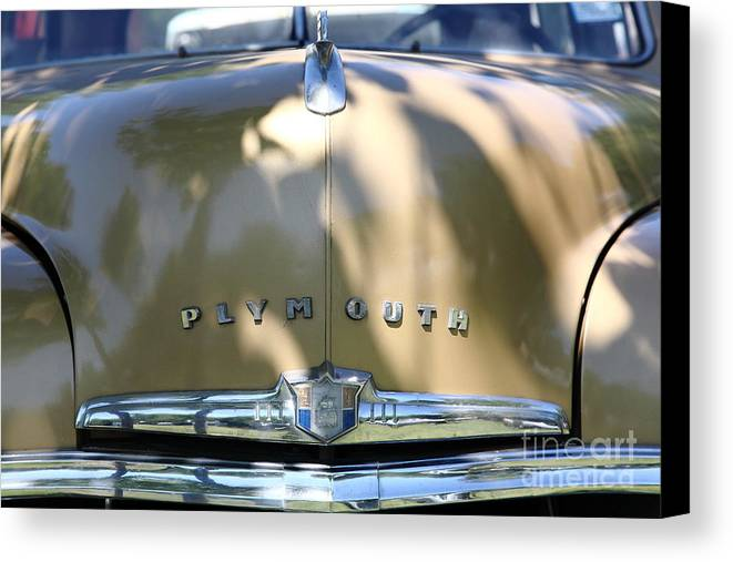 Transportation Canvas Print featuring the photograph 1949 Plymouth Delux Sedan . 5d16206 by Wingsdomain Art and Photography