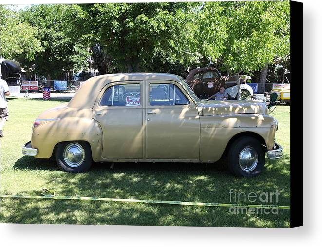 Transportation Canvas Print featuring the photograph 1949 Plymouth Delux Sedan . 5d16208 by Wingsdomain Art and Photography