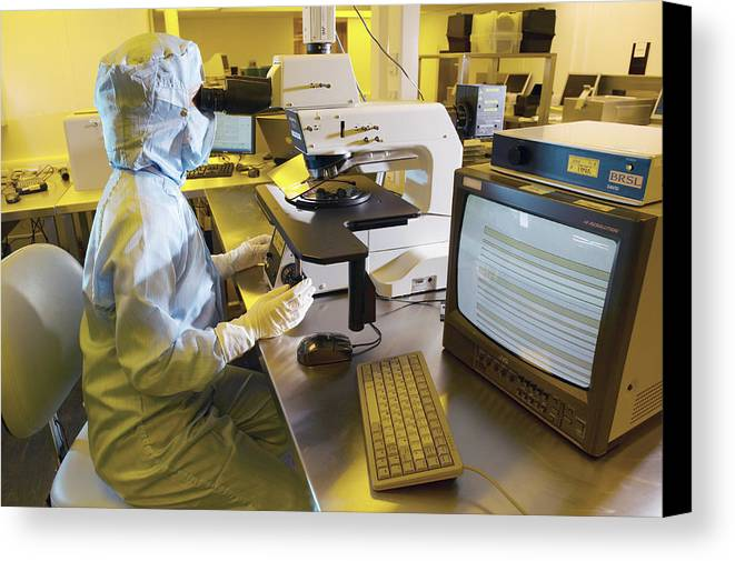 Microscope Canvas Print featuring the photograph Mems Production, Quality Control by Colin Cuthbert