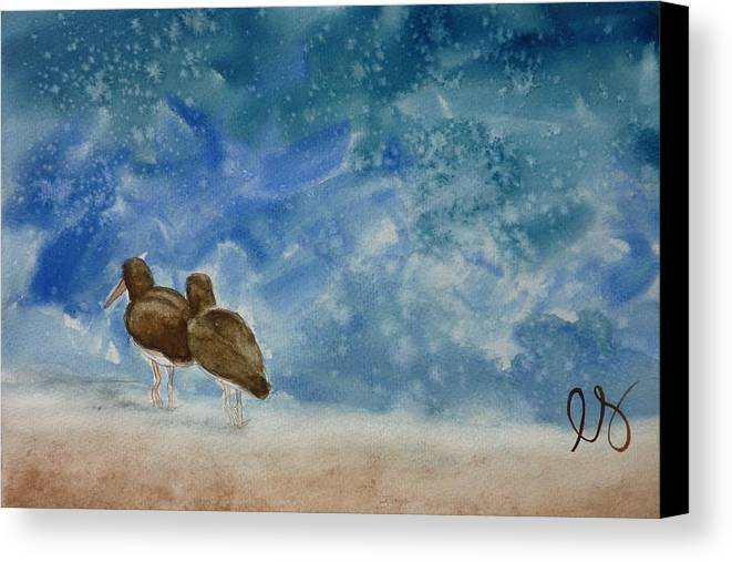 Oystercatchers Canvas Print featuring the painting A Walk On The Beach by Estephy Sabin Figueroa