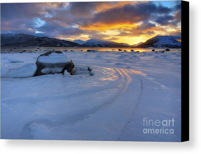 Evenskjer Canvas Print featuring the photograph A Winter Sunset Over Tjeldsundet by Arild Heitmann