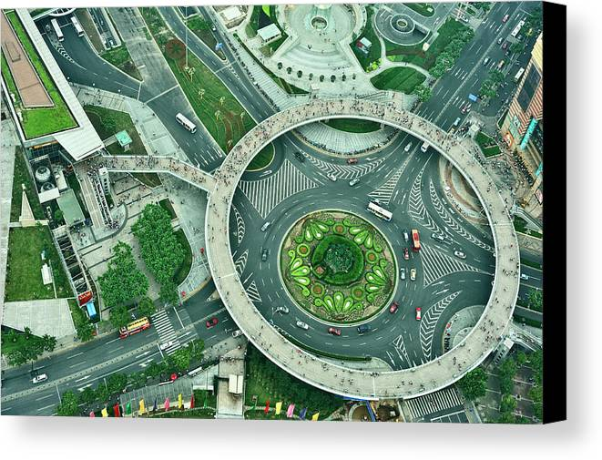 Horizontal Canvas Print featuring the photograph Aerial View Of Shaghai Traffic by Ixefra