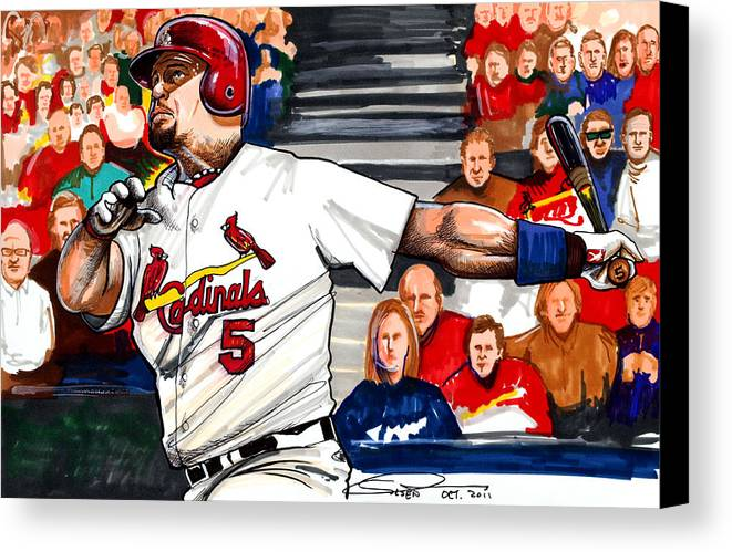 Albert Pujols Canvas Print featuring the drawing Albert Pujols by Dave Olsen