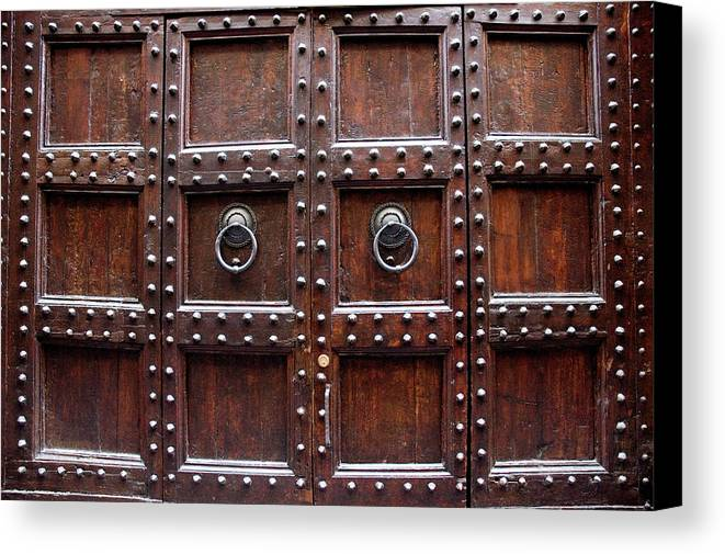 Horizontal Canvas Print featuring the photograph Antique Wood Door In Florence by Giuseppe Ceschi