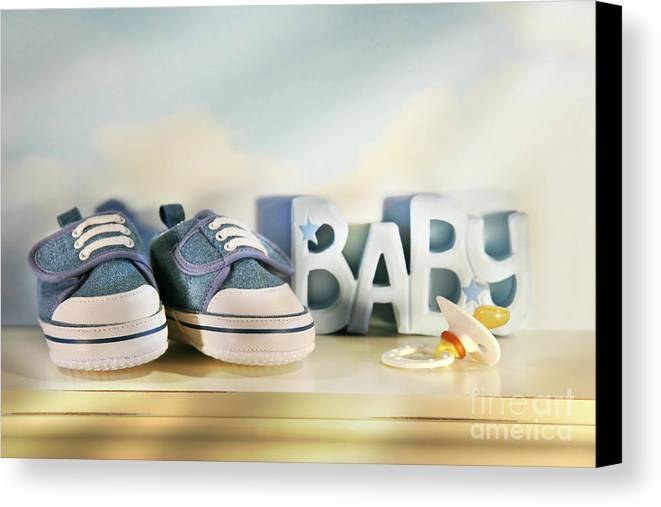 Baby Canvas Print featuring the photograph Baby Denim Shoes by Sandra Cunningham