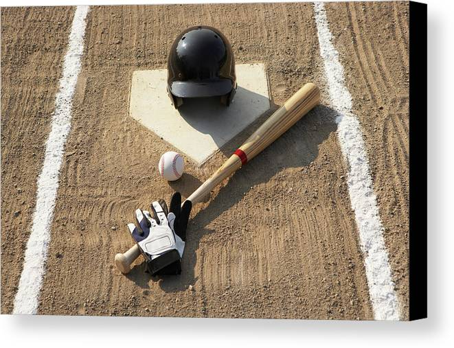 Horizontal Canvas Print featuring the photograph Baseball, Bat, Batting Gloves And Baseball Helmet At Home Plate by Thomas Northcut