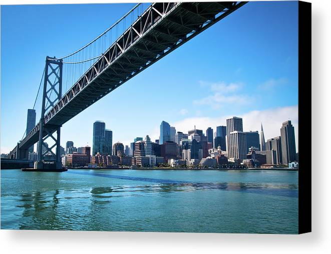 Horizontal Canvas Print featuring the photograph Bay Bridge And Embarcadero by Lily Chou