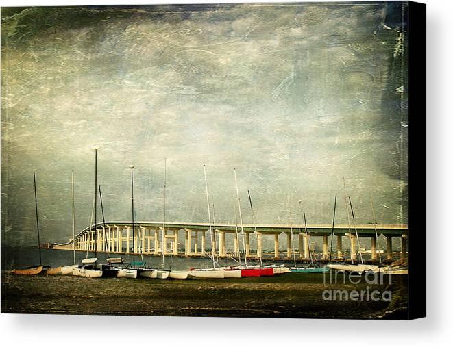 Biloxi Ocean Springs Bridge Canvas Print featuring the photograph Biloxi Bay Bridge by Joan McCool