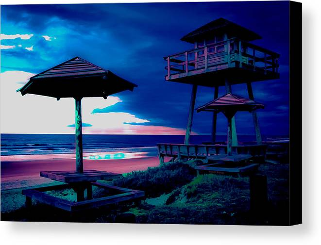 Tower Canvas Print featuring the photograph Blacklight Tower by DigiArt Diaries by Vicky B Fuller