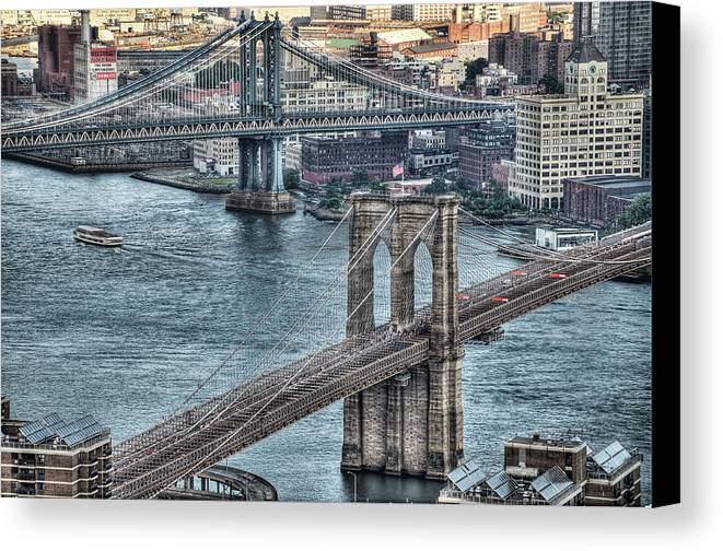 Horizontal Canvas Print featuring the photograph Brooklyn And Manhattan Bridge by Tony Shi Photography