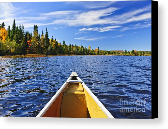Canoe Canvas Print featuring the photograph Canoe Bow On Lake by Elena Elisseeva