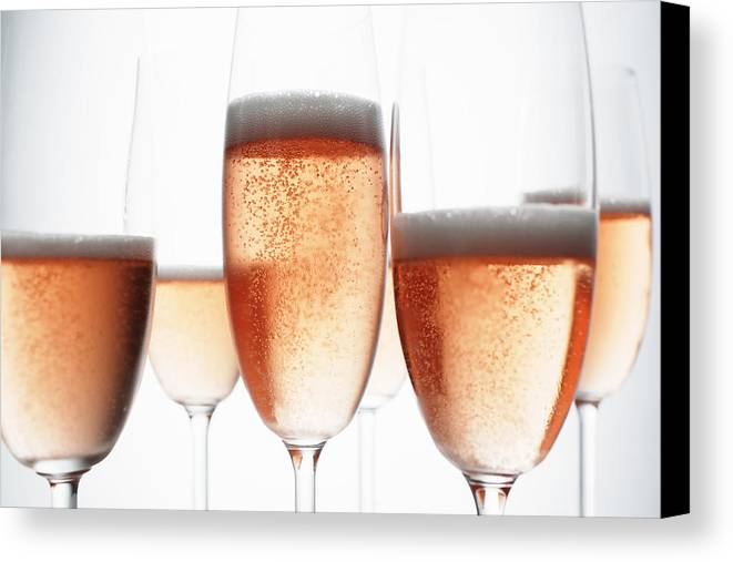 Horizontal Canvas Print featuring the photograph Close Up Of Glasses Of Champagne by Brett Stevens
