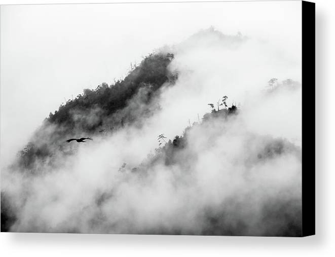 Horizontal Canvas Print featuring the photograph Clouds Surrounding Mountains by Ruben Sanchez Photography