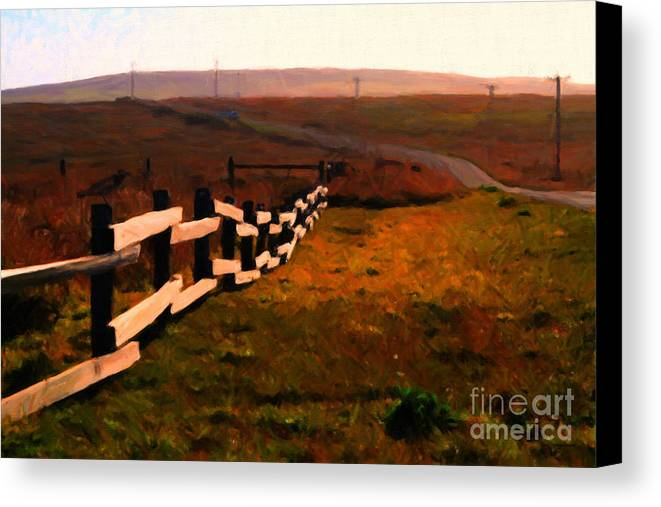 Philosophical Canvas Print featuring the photograph Driving Down The Lonely Highway . Study 2 . Painterly by Wingsdomain Art and Photography
