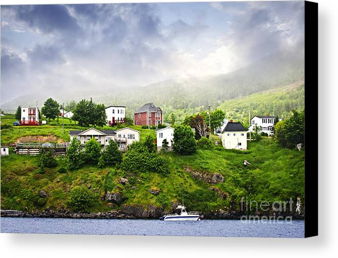 Fishing Canvas Print featuring the photograph Fishing Village In Newfoundland by Elena Elisseeva