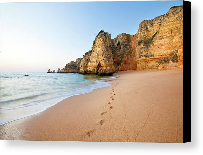 Horizontal Canvas Print featuring the photograph Footsteps In Sand by Monica and Michael Sweet