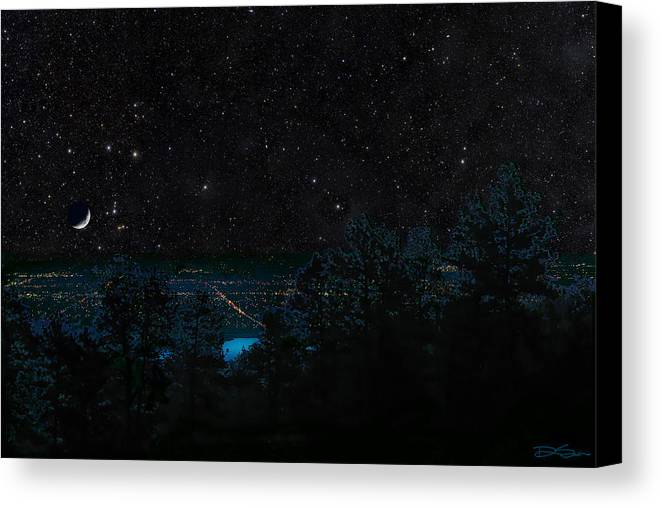 Fort Collins Canvas Print featuring the photograph Fort Collins Colorado At Night by Ric Soulen