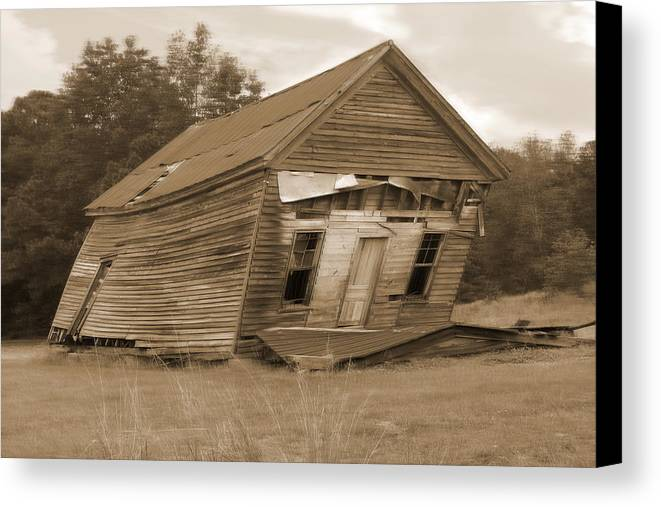 Old Building Canvas Print featuring the photograph Going Down by Mike McGlothlen