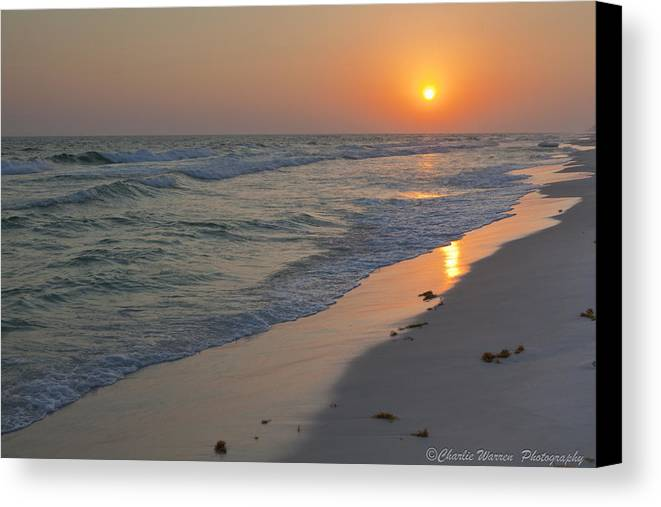 Beach Canvas Print featuring the pyrography Grayton Beach Sunset 5 by Charles Warren