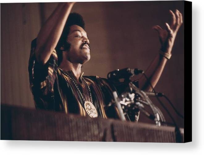 History Canvas Print featuring the photograph Jesse Jackson Speaks On A Radio by Everett