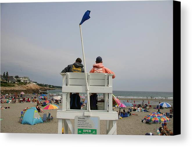 North America Canvas Print featuring the photograph Lifeguards Watch Over The Traditional by Stephen St. John