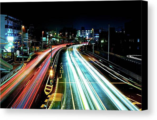 Horizontal Canvas Print featuring the photograph Light Trails by Photo by ball1515