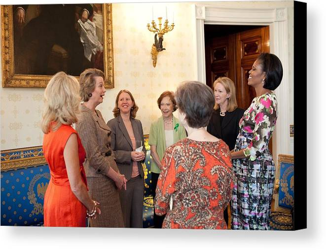 History Canvas Print featuring the photograph Michelle Obama And Jill Biden by Everett