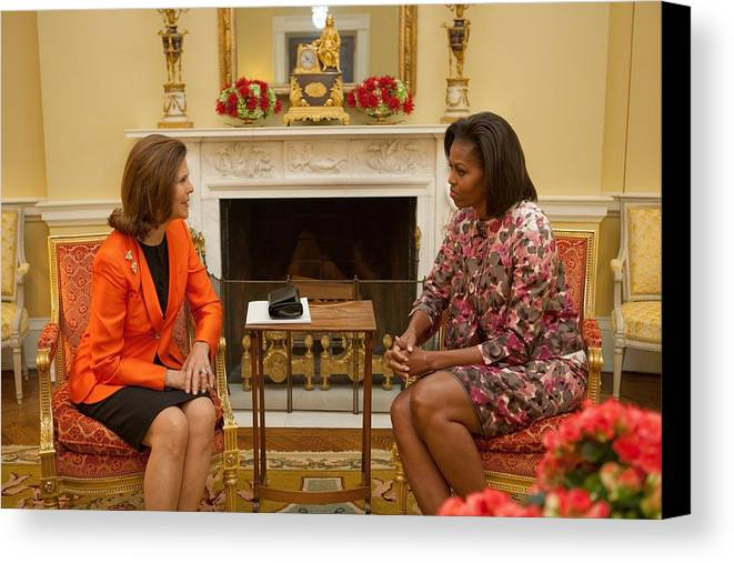 History Canvas Print featuring the photograph Michelle Obama And Queen Silvia by Everett