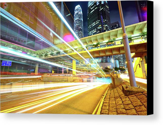 Horizontal Canvas Print featuring the photograph Modern City At Night by Leung Cho Pan