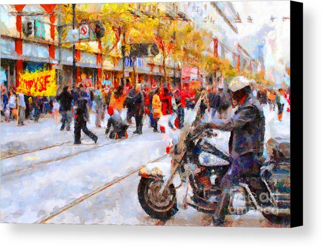 San Francisco Canvas Print featuring the photograph Occupy Sf Market Street . 7d9738 by Wingsdomain Art and Photography
