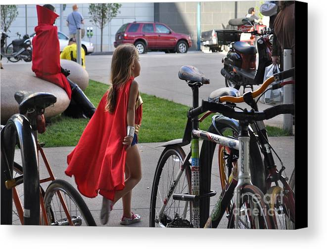 Supergirl Canvas Print featuring the photograph Off To Save The World- Back By Naptime by Anjanette Douglas